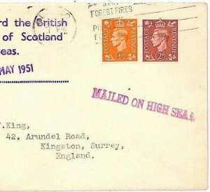 GB MARITIME Cover 1951 SS Empress of Scotland MAILED ON HIGH SEAS Quebec? JJ266