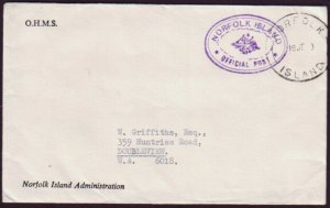 NORFOLK ISLAND - NSW OFFICIAL COVER WITH PURPLE CANCEL (RU5416)