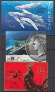 Tokelau Sc 242, 283, 335 MNH. 1997-2005 Souvenir Sheets, 3 different, VF