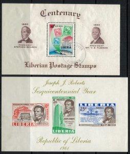 Liberia #C129u,C134a*  (C134a very light corner stain) CV $3.50 Souvenir sheets