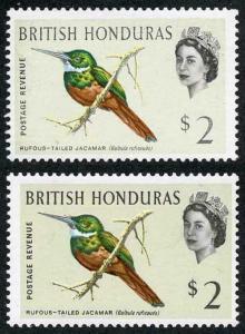 British Honduras SG212/a 1962 Birds 2 dollar shades m/m