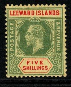 LEEWARD ISLANDS SG57c 1920 5/= GREEN & RED/ORANGE-BUFF MTD MINT