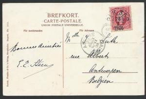 SWEDEN TO BELGIUM 1906 postcard PLK 359 railway cds Stockholm-Saltsjöbaden.27448