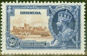 Bermuda 1935 2 1/2d Brown & Dp Blue SG96m Bird by Turret V.F Very Lightly Mtd Mi