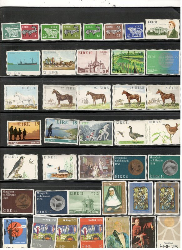 IRELAND COLLECTION ON STOCK SHEET, ALL MINT, MOSTLY MNH