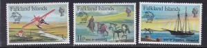 Falkland Islands # 295-297, UPU Membership Centenial, NH, 1/2 Cat.