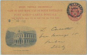 83306 - CAPE OF GOOD HOPE - Postal History - STATIONERY CARD to ITALY 1911 #15a