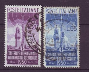 J21610 Jlstamps 1950 italy set used #538-9 radio $96.00 scv