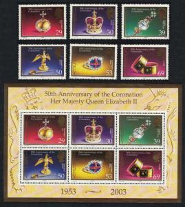 Jersey Coronation Regalia 50th Anniversary of Coronation 7v SG#1099-MS1105