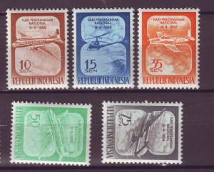 J25017 JLstamps 1958 indonesia set mh #445-9 airplanes