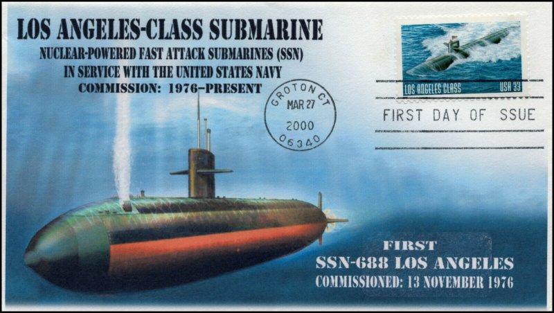 AO 3374, 1, 2000, Los Angeles Class Submarine, FDC, Add-on Cachet, SSN-688