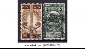 ITALY - 1911 SCOTT#119 AND 126 ( SURCHARGED) - 2V - USED