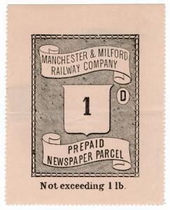 (I.B) Manchester & Milford Railway : Newspaper Parcel 1d (large format)