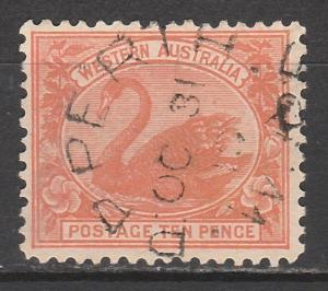 WESTERN AUSTRALIA 1905 SWAN 10D WMK CROWN/A USED