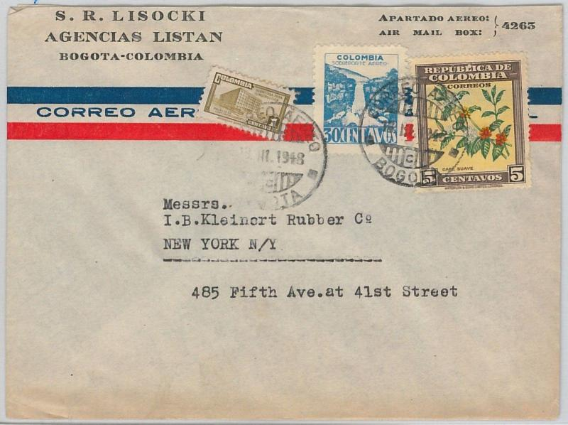 COLOMBIA -  POSTAL HISTORY -  AIRMAIL COVER to USA 1948