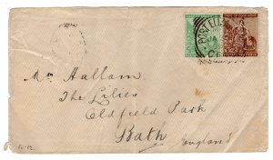 Cape of Good Hope South Africa 1 + 2 Penny on cover PORT ELIZABETH to BATH 1899