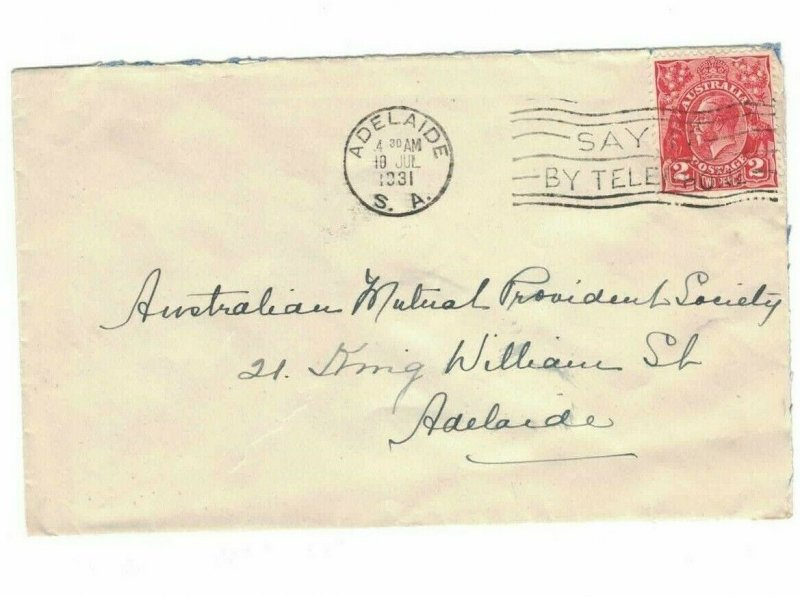 APH1465) Australia 1931 2d Red KGV Die III Small Cover