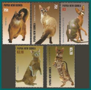 Papua New Guinea 2005 Cats, MNH  #1195-1199,SG1107-SG1111