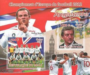 European Football 2012 - England National Team - 2 Stamp Sheet 13H-306
