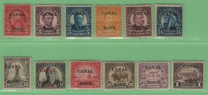 $US Canal Zone Sc#84-95 M/H/F-VF, #89 has tiny thin, complete set, Cv. $492.25