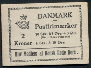 DENMARK (H18) 2kr 1940 5+3ore Red Cross booklet, VF