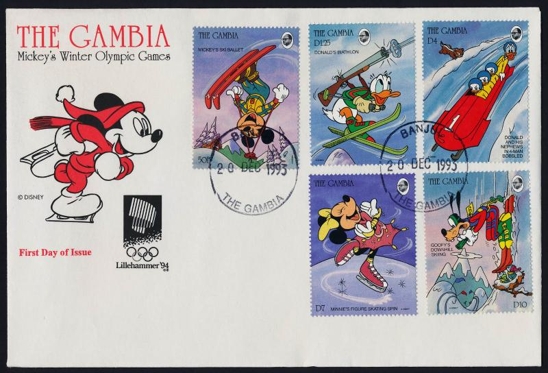 Gambia 1484,7-8,91-2 on FDC - Disney, Winter Olympics, Skiing, Skating
