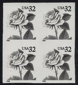 2492 Var. Unlisted Color Omitted & Imperf Error/EFO Pair Black Rose Read