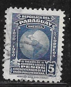 Paraguay 376: 5p Map of the Americas, used, VF