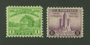 US 1933 Century of Progress Set, Scott 728-729 Mint Hinged, Value = 50c