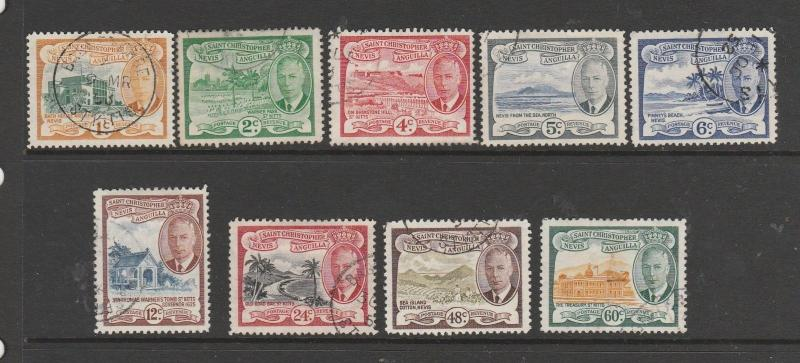St Kitts Nevis, 1952 9 Vals to 60c ( no 3c ) VFU SG 94/103 less 96