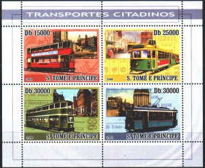 Sao Tome and Principe. 2008. Small sheet 3571-74. Trams. MNH.