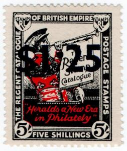(I.B) Cinderella Collection : Regent Catalogue $1.25 on 5/- Overprint