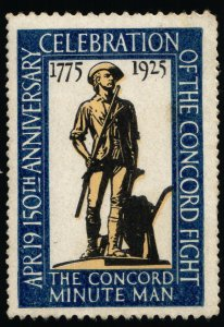 150th Celebration of the Concord Fight - Poster Stamp - HR - 1925