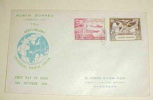 NORTH BORNEO UPU FDC 1949 CACHET ADDRESSED
