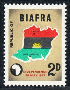 Biafra 1968 Declaration of Independence #1 Map and Flag