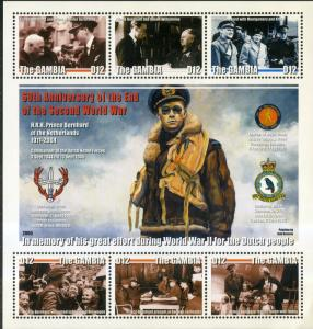 GAMBIA 2955 S/S MNH SCV $5.00 BIN $3.00 60TH ANNIV. OF THE END OF WW11