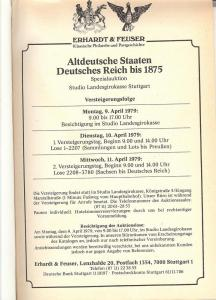 Erhardt & Feuser: Sale # 1  -  Altdeutsche Staaten Deutsc...