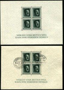GERMANY Hitler 48th Birthday #B102 Sheet Semi-Postal Stamps HAMBURG 1937 MNH OG