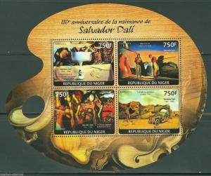 NIGER 2014 110th BIRTH ANNIVERSARY OF SALVADOR DALI SHEET MINT NH