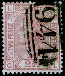 SG141, 2½d rosy mauve plate 7, FINE USED. Cat £85. GL