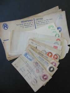 GREAT BRITAIN : Old Time grouping of Reg. Letters, Env & Letter Cards. Better