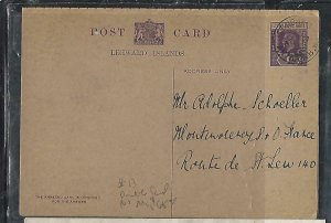 LEEWARD ISLANDS (P2808BB)  1925 KGV 1D REPLY  PSC FROM ST JOHNS TO USA NO MSG