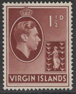 VIRGIN ISLANDS SG112a 1943 1½d RED-BROWN ORD PAPER MTD MINT