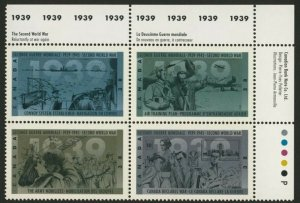 Canada 1263a TR Plate Block MNH WWII, Aircraft, Ship, WWII, Soldier, Convoy