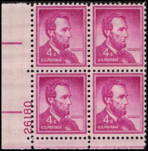 US #1036a ABRAHAM LINCOLN MNH LL PLATE BLOCK #26180 DURLAND .50¢