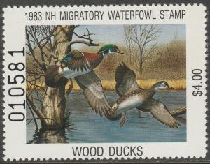 U.S.-NEW HAMPSHIRE 1, STATE DUCK HUNTING PERMIT STAMP. MINT, NH. VF