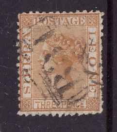 Sierra Leone-Sc#8-used 3p yellow buff-QV-1872-wmk sdwys-