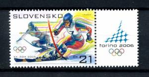 [92389] Slovakia 2006 Olympic Games Turin Torino Slalom Skiing With Label MNH