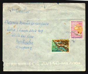 1966 scarce destiny air mail cover Mozambique to Uruguay plane map lighthouse