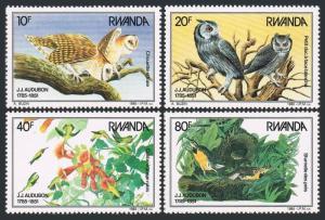 Rwanda 1226-1229,MNH.Michel 1310-1313. Audubon's birds 1985.Owls,Hummingbird,